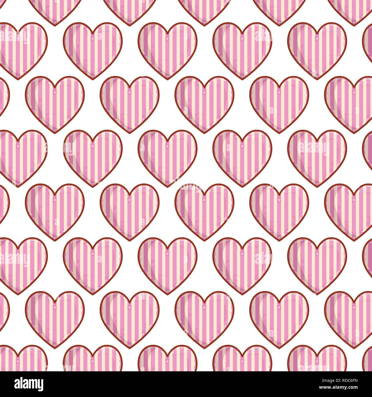 hearts love with stripes pattern Stock Vector