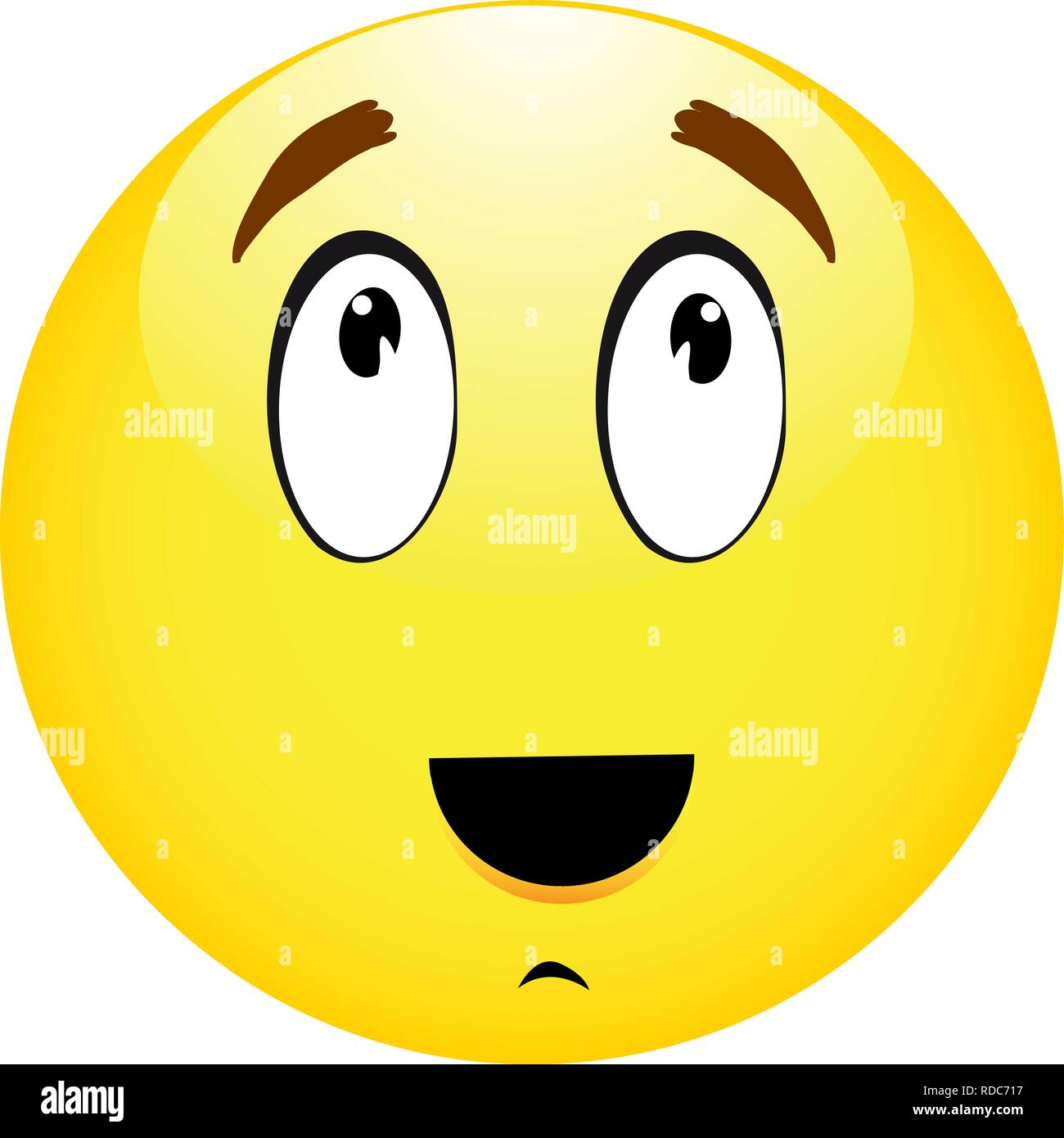Thinking emoticon yellow smiley on white backround - Stock Vector