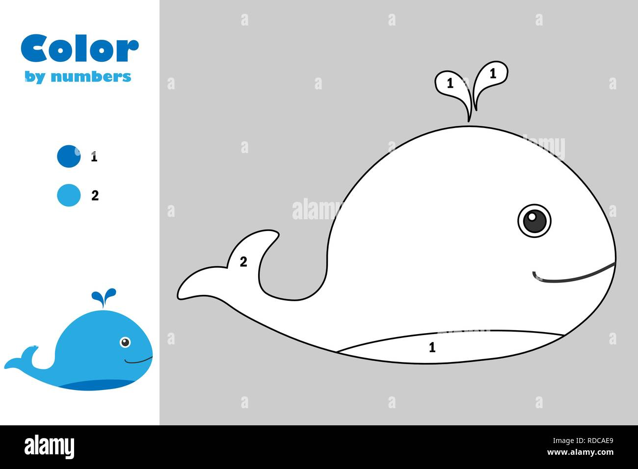 whale in cartoon style color by number education paper game for the development of children coloring page kids preschool activity printable works RDCAE9