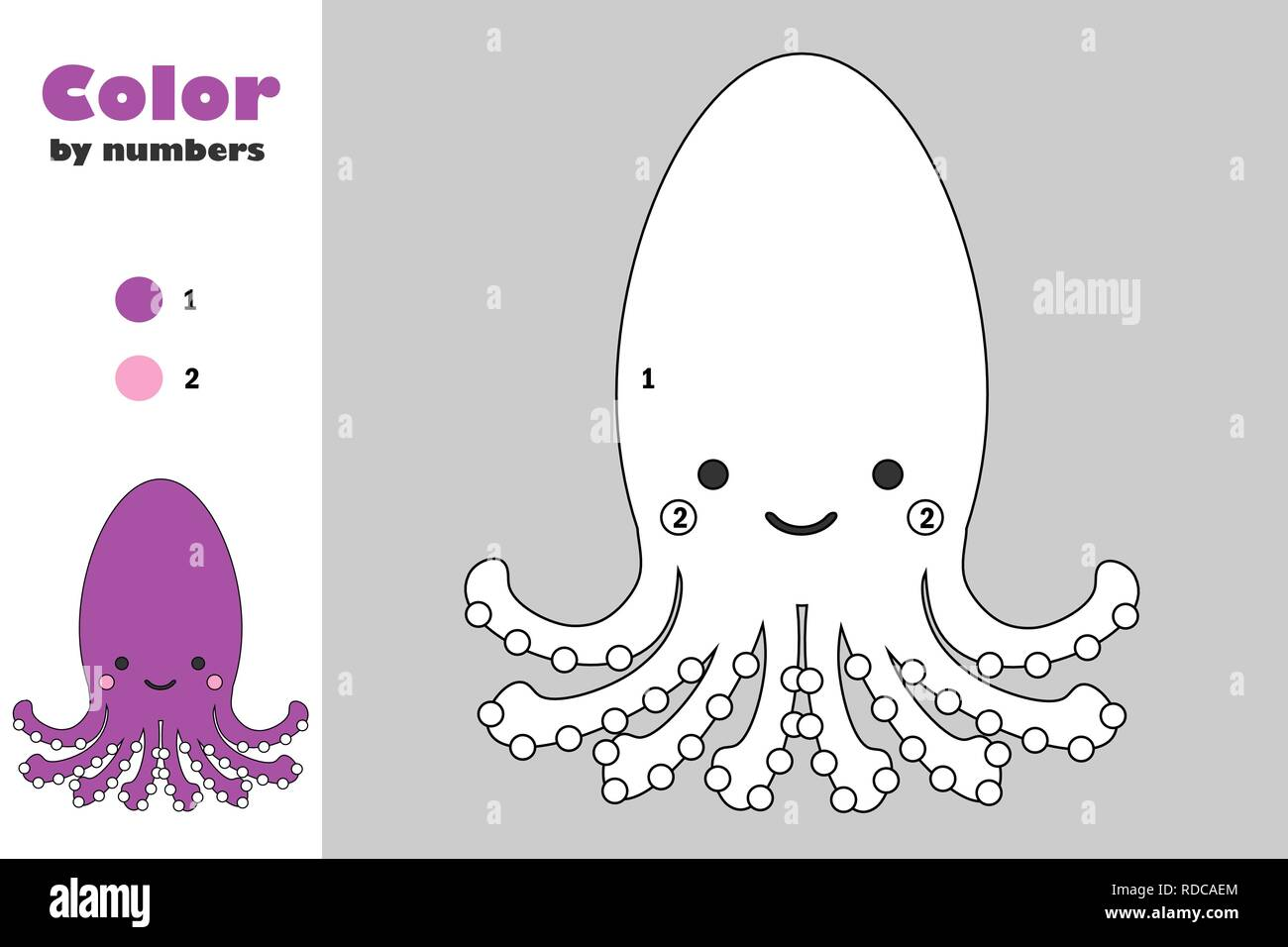 image about Octopus Printable identify Octopus in just cartoon layout, shade by means of range, training paper