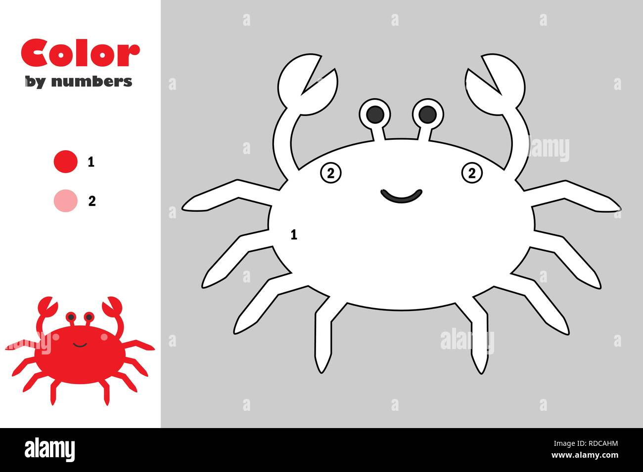 photograph regarding Crab Printable named Crab inside of cartoon style and design, colour via quantity, education and learning paper activity