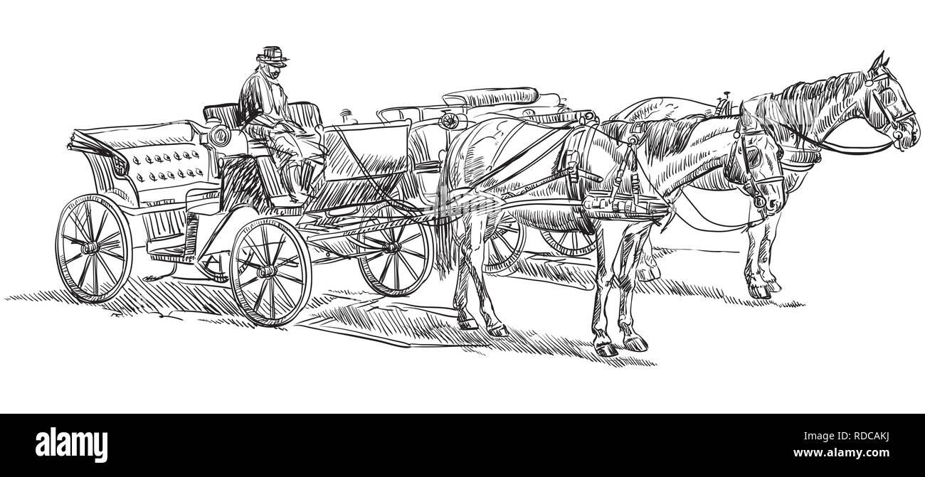 Vector Hand Drawing Illustration Horse Drawn Carriages With Coachman Monochrome Vector Hand Drawing Sketch Illustration In Black Color Isolated On Wh Stock Vector Image Art Alamy