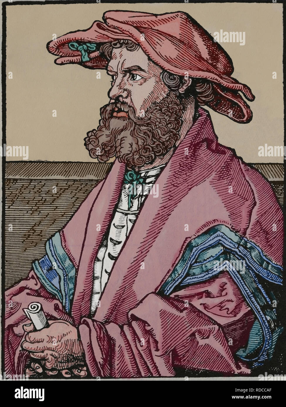 Helius Eobanus Hessus (1488-1540). German Latin poet and later a Lutheran humanist. Engraving by A. Durer, 1526. - Stock Image
