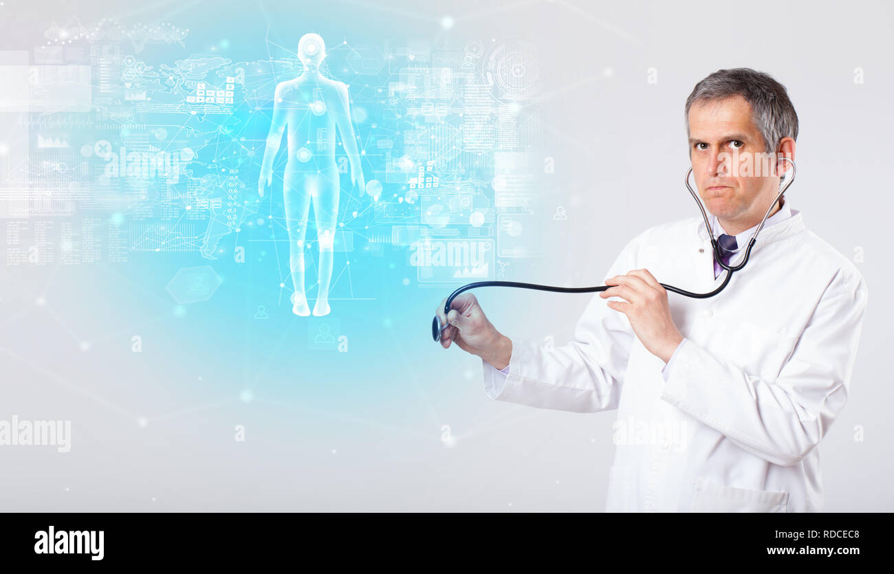 Middle aged scientist with full body map concept   - Stock Image