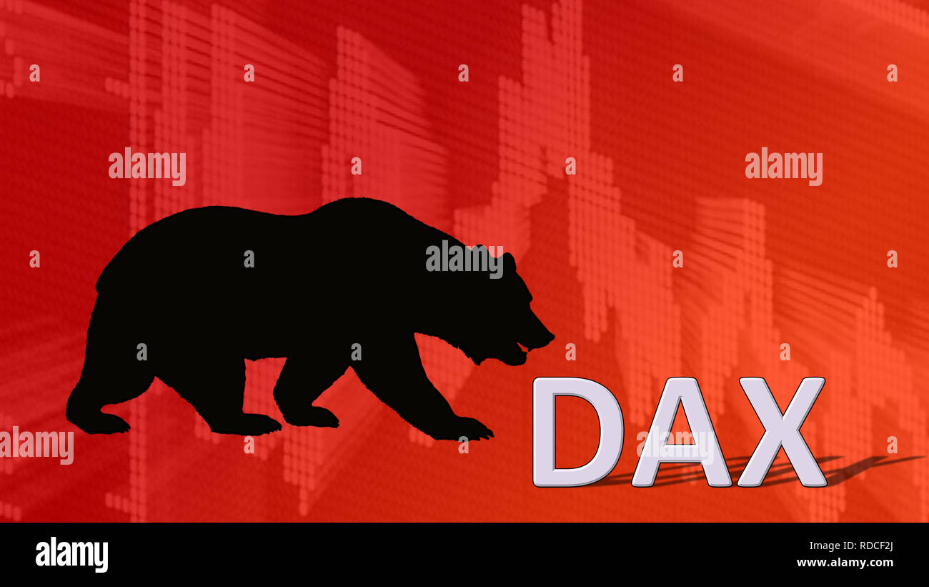 The German blue chip stock market index DAX is falling. Behind the word Dax is a black bear silhouette looking down on a red descending chart in the... - Stock Image