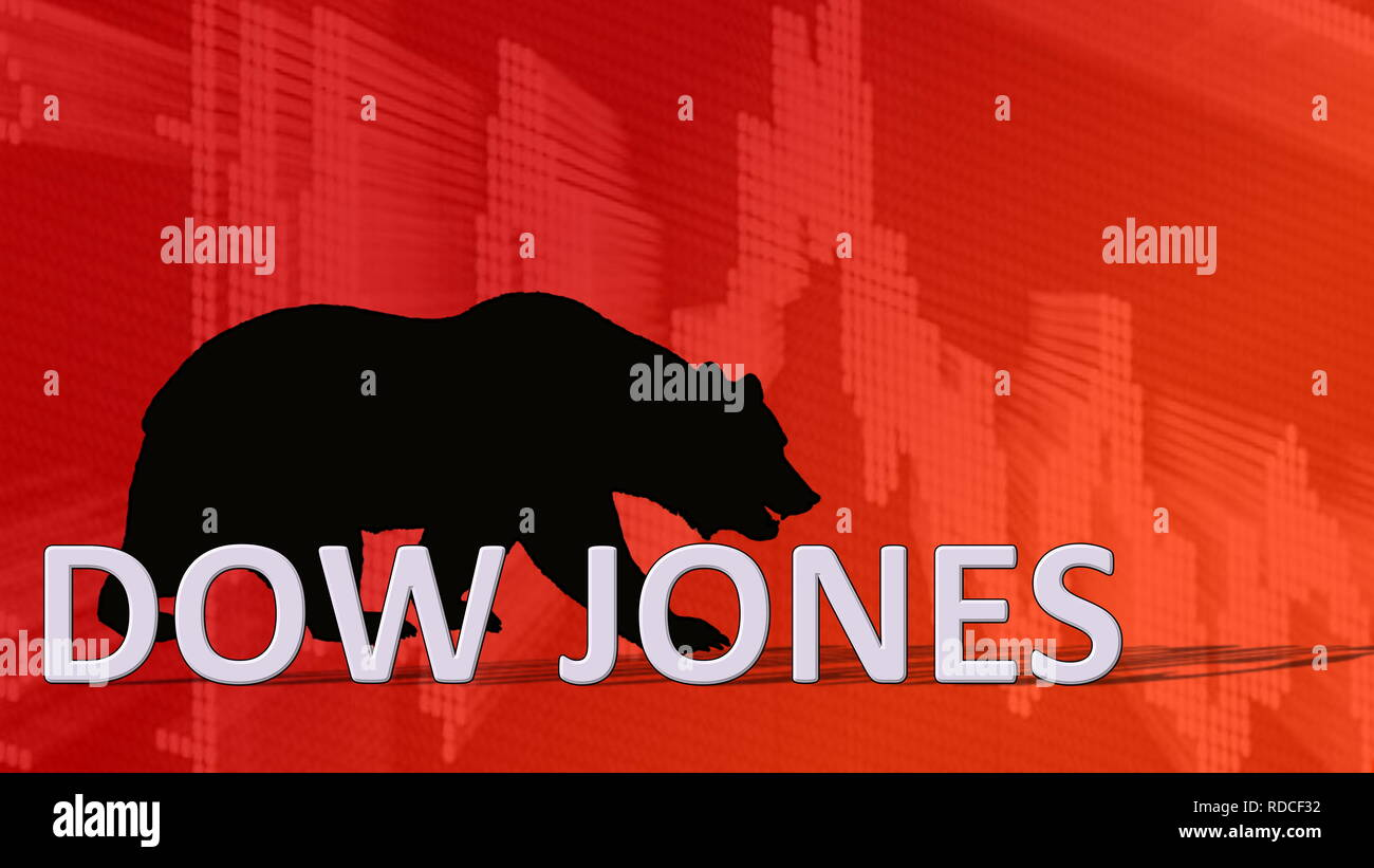 The American stock market index Dow Jones is falling. Behind the word Dow Jones is a black bear silhouette looking down on a red descending chart in... - Stock Image