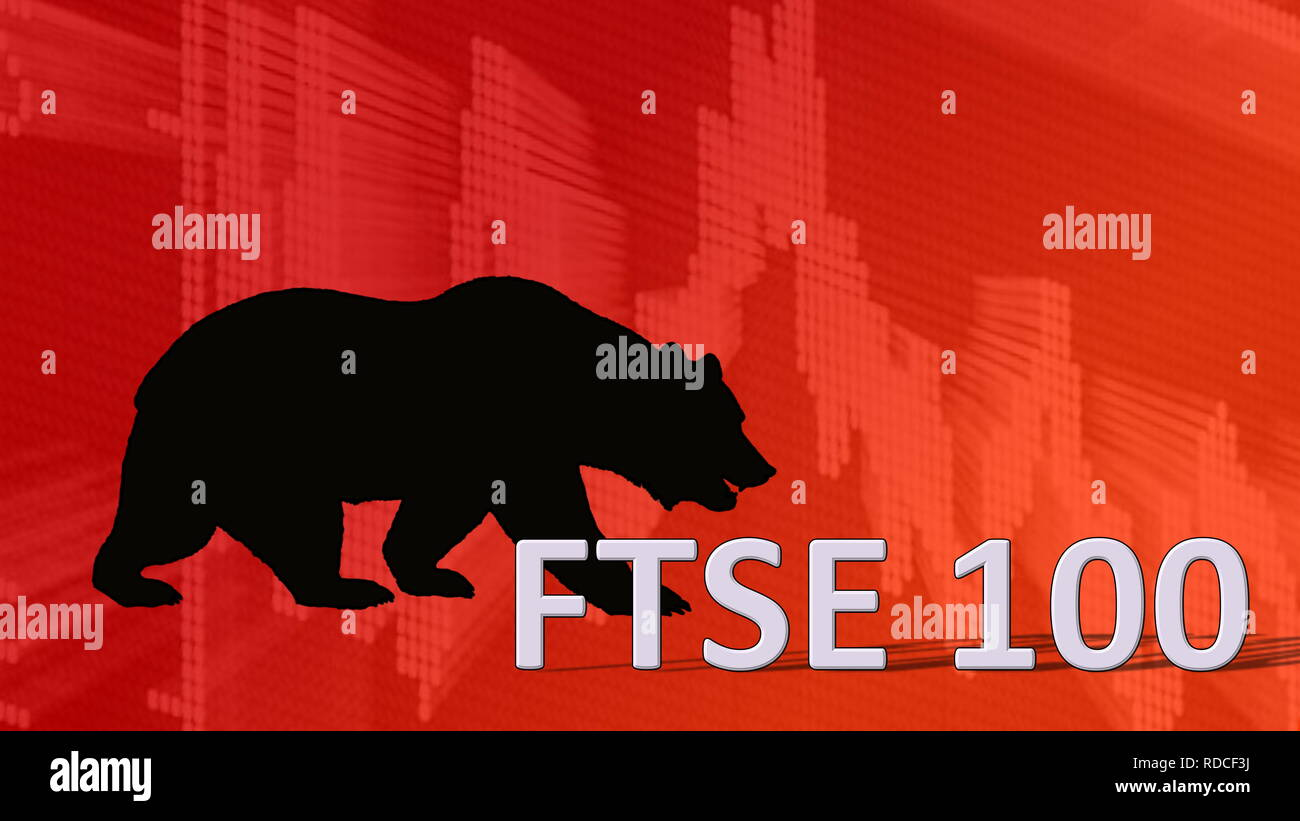 The British stock market index FTSE 100 is falling. Behind the word FTSE 100 is a black bear silhouette looking down on a red descending chart in the... - Stock Image