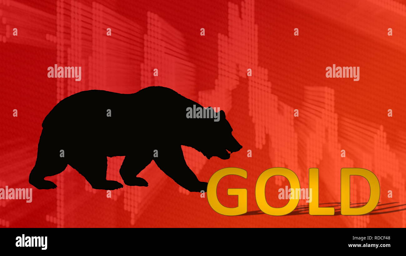 The price of the precious metal gold is falling. Behind the word gold is a black bear silhouette looking down on a red descending chart in the backdro - Stock Image