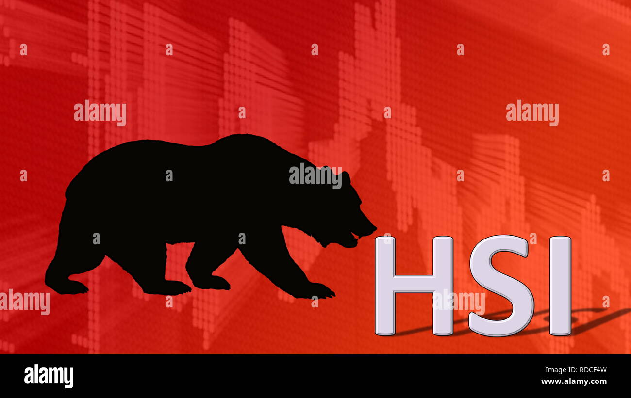 The Hong Kong stock market index Hang Seng Index or HSI is falling. Behind the word HSI is a black bear silhouette looking down on a red descending... - Stock Image