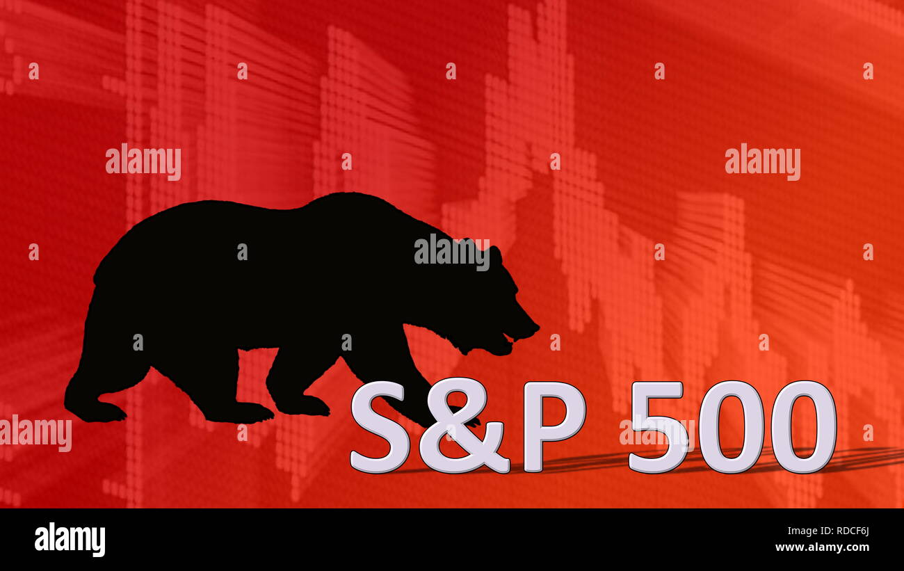The American stock market index S&P 500 is falling. Behind the word S&P 500 is a black bear silhouette looking down on a red descending chart in the... - Stock Image