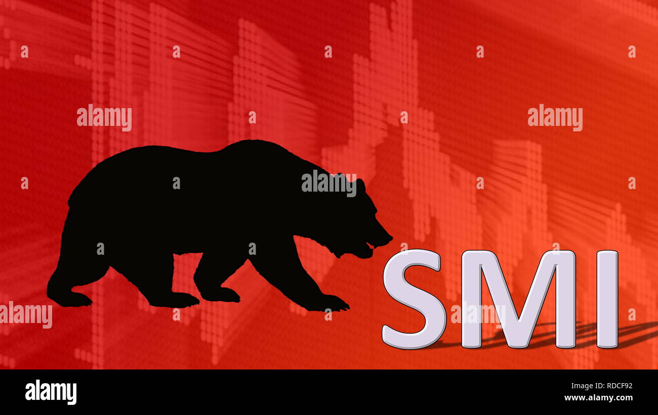 The Swiss Market Index SMI, Switzerland's blue-chip stock index is falling. Behind the word SMI is a black bear silhouette looking down on a red... - Stock Image