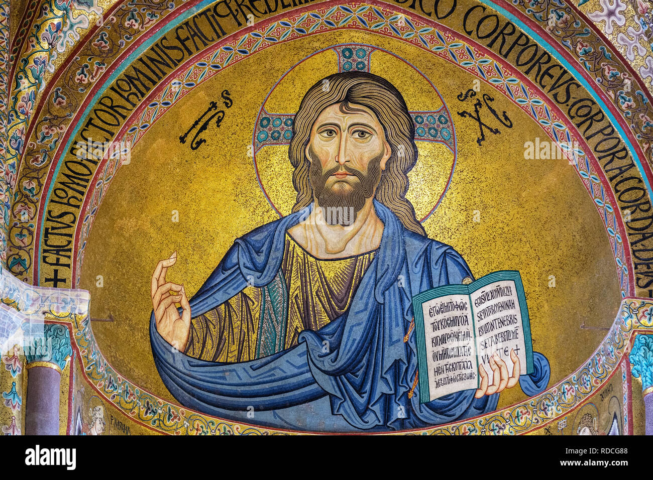 The Christ Pantocrator mosaic in Cathedral San Salvatore. Cefalu, Sicily, Italy - Stock Image