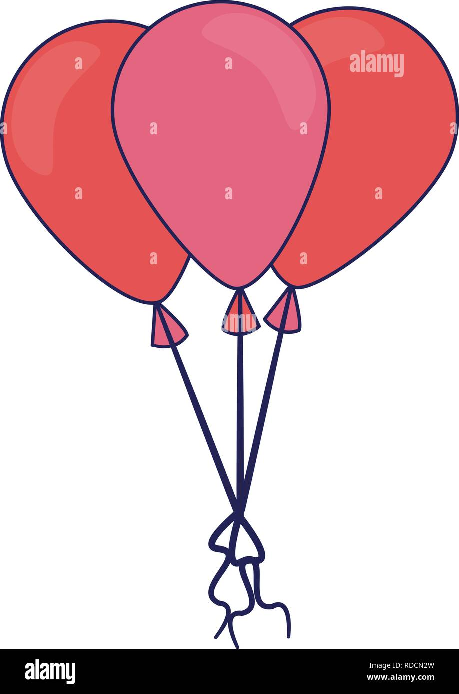 Balloons tied and flying - Stock Vector