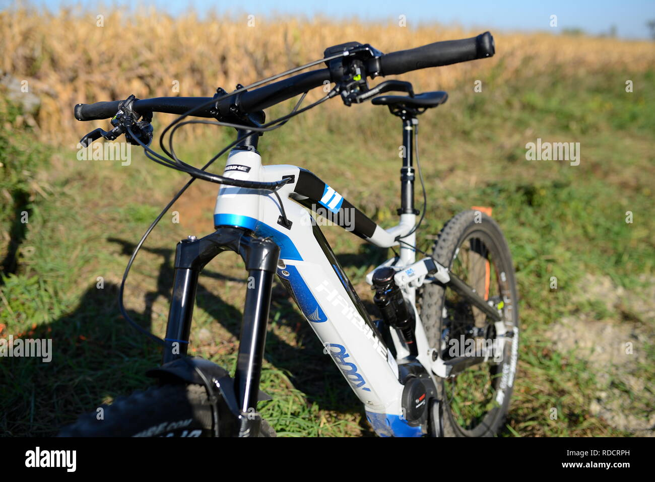 pause. nobody on haibike xduro nduro 11. full suspension ebike fully pedelec in front of green background Stock Photo