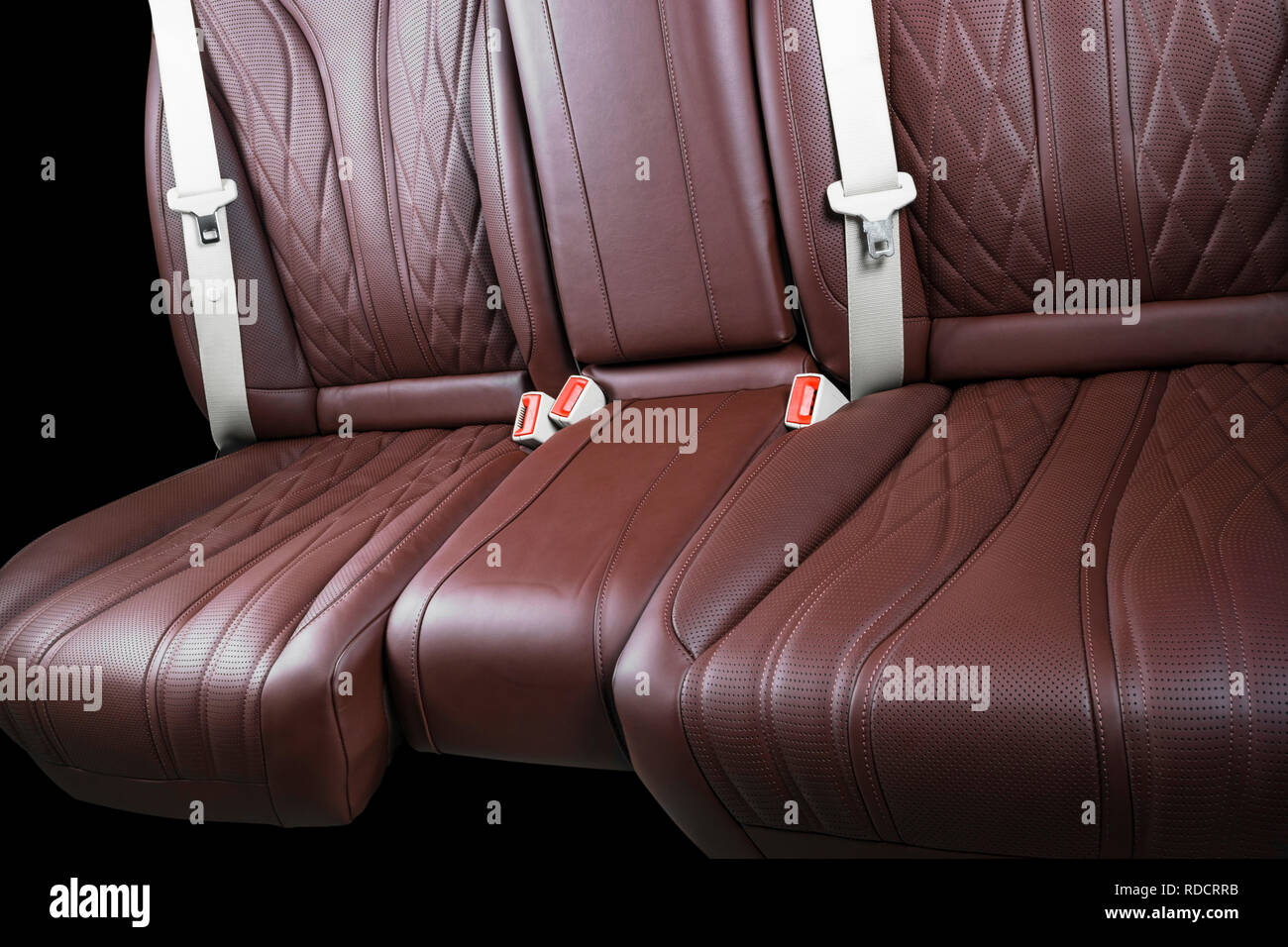 Brown Leather Interior Of The Luxury Modern Car Perforated Leather Comfortable Red Seats With Stitching Isolated On Black Background Modern Car Inte Stock Photo Alamy