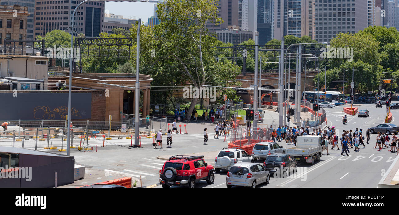 Sydney, Australia Jan 12th, 2019: Light Rail construction nears completion for the section outside the Elizabeth St entry to Sydney's Central Station - Stock Image