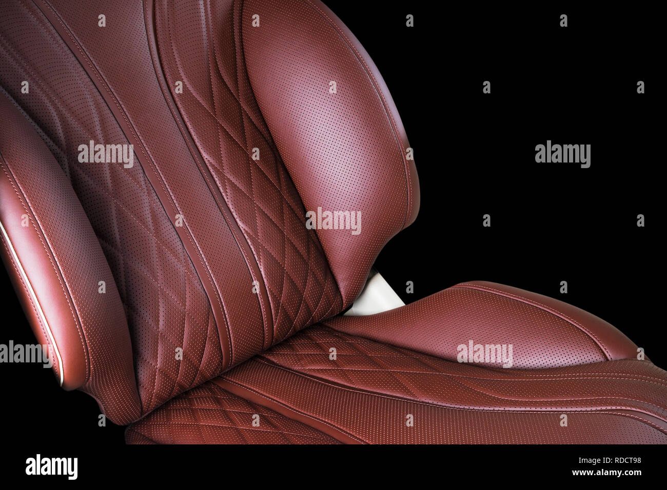 Brown Leather Interior Of The Luxury Modern Car Perforated
