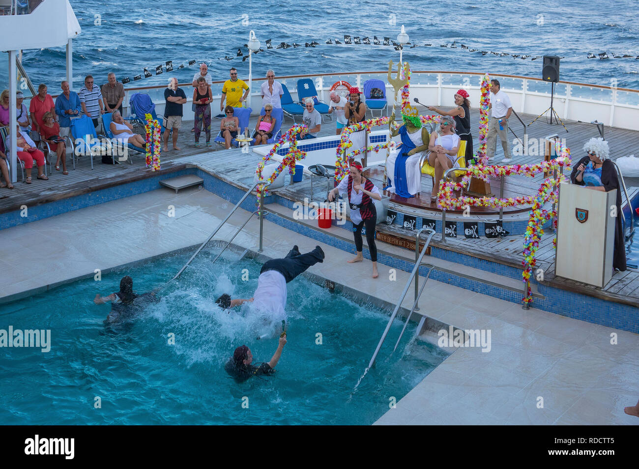 Equator, crossing the line ceremony aboard ship - Stock Image