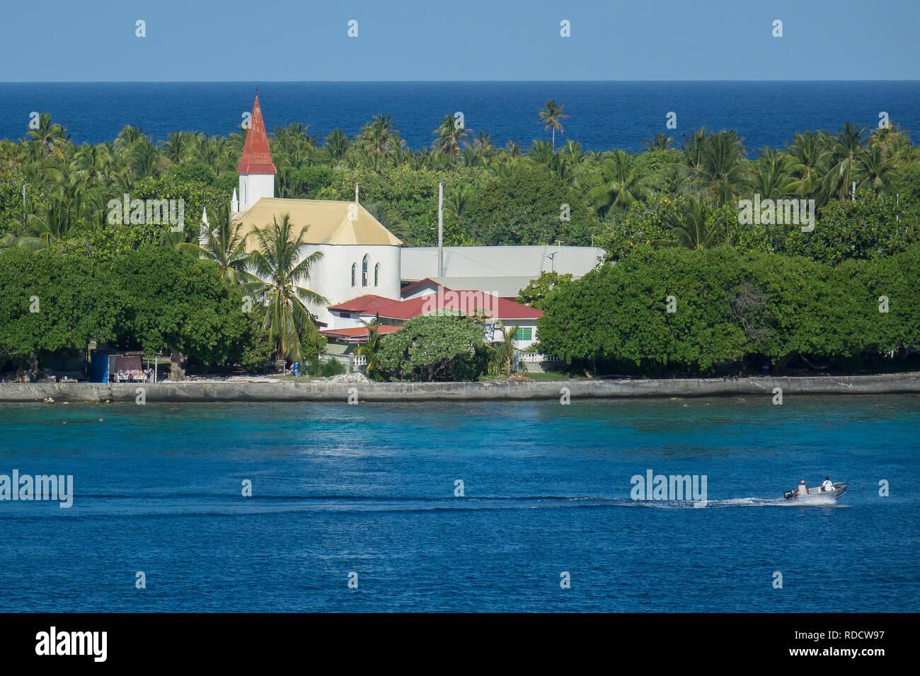 French Polynesia, Rangiroa atoll, church - Stock Image