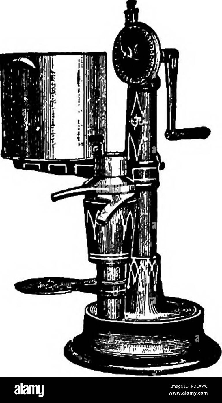 . Principles and practice of butter-making : a treatise on the chemical and physical properties of milk and its components, the handling of milk and cream, and the manufacture of butter therefrom . Butter; Milk. FARM SEPARATORS. 155 thereby enabling him to detect any mistake which may happen at the creamery. Power for Farm Separators.—Hand-power is often men-. Please note that these images are extracted from scanned page images that may have been digitally enhanced for readability - coloration and appearance of these illustrations may not perfectly resemble the original work.. McKay, George Le - Stock Image