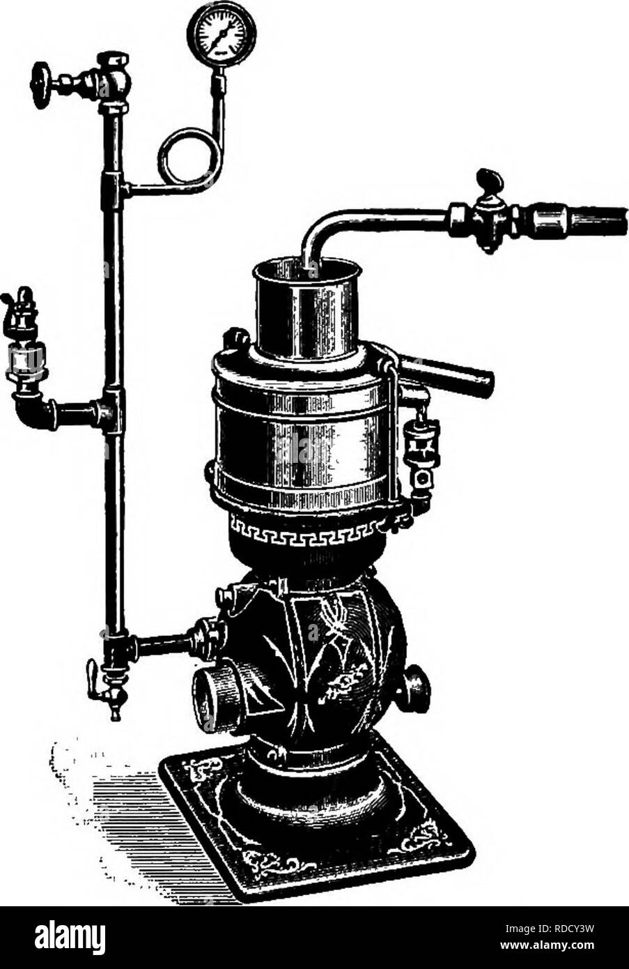 """. Principles and practice of butter-making : a treatise on the chemical and physical properties of milk and its components, the handling of milk and cream, and the manufacture of butter therefrom . Butter; Milk. SEPARATION OF CREAM. 133 Machine."""" Another German machine, called """"The Page,"""" was also manufactured in the horizontal bowl style. From the above it will be noticed that four separate steps are recognizable in the evolution and improvement of separators: 1. Revolving Bucket Centrifuge; 2. Intermittent Hollow Bowl; 3. Continuous Hollow Bowl; 4. Continuous Separator with co - Stock Image"""