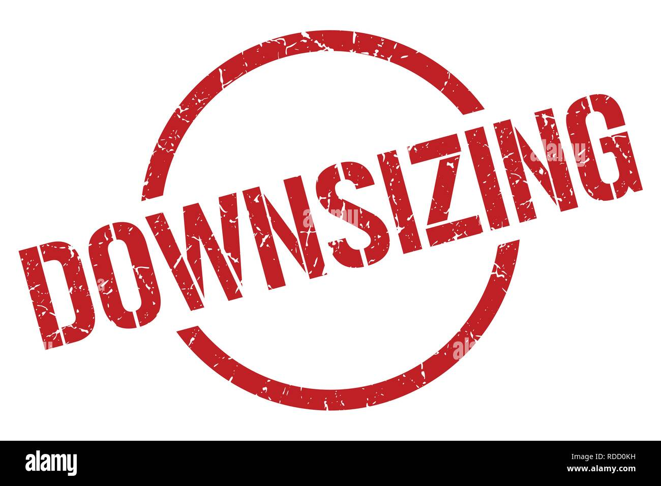 downsizing red round stamp - Stock Vector