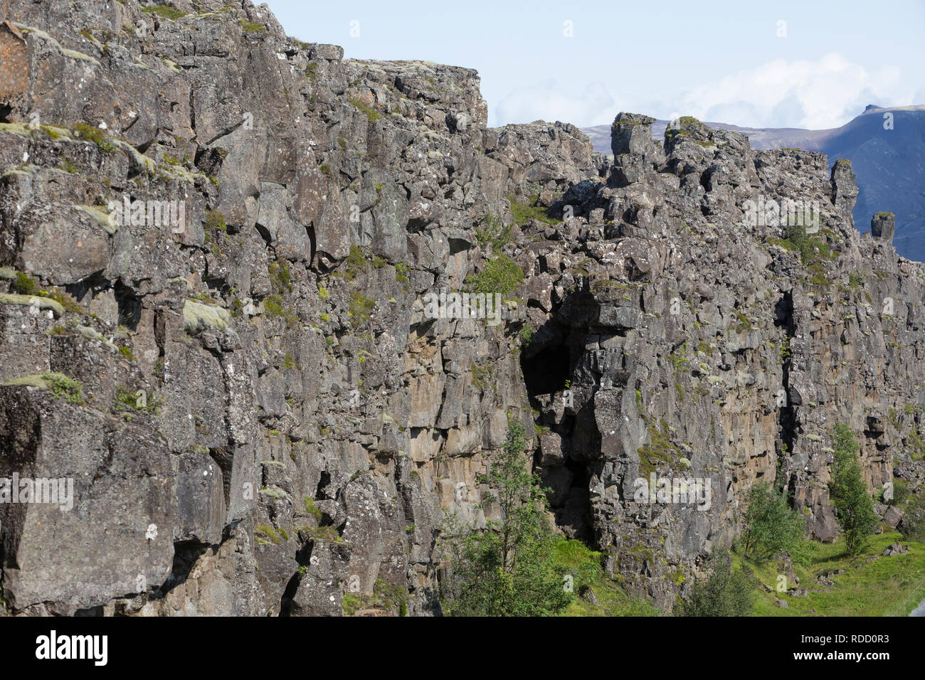 Almannagjá, Almannagja, Allmännerschlucht, Allmänner-Schlucht, Schlucht im Nationalpark Þingvellir, Þingvellir, Pingvellir, Thingvellir, Þingvellir-Na - Stock Image