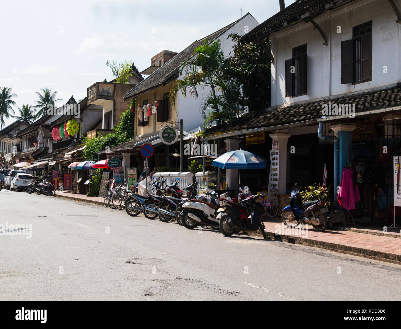 Looking along Mian street Luang Prabang Laos Asia  royal capital of the country until 1975 designated a UNESCO World Heritage Site in 1995 - Stock Image