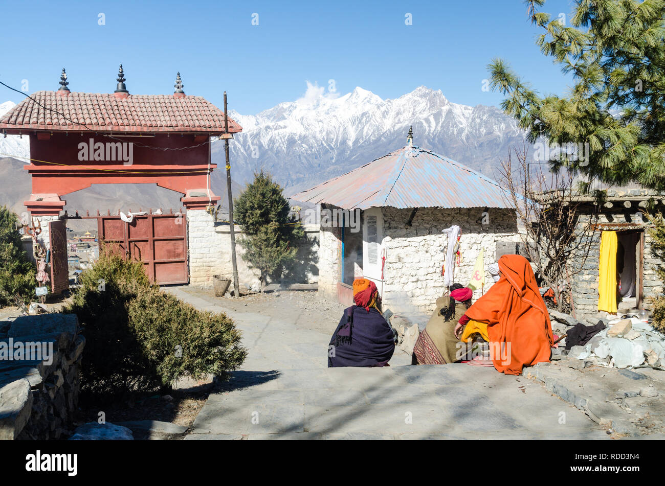 Sadhus in Muktinath temple, Annapurna Circuit, Nepal - Stock Image