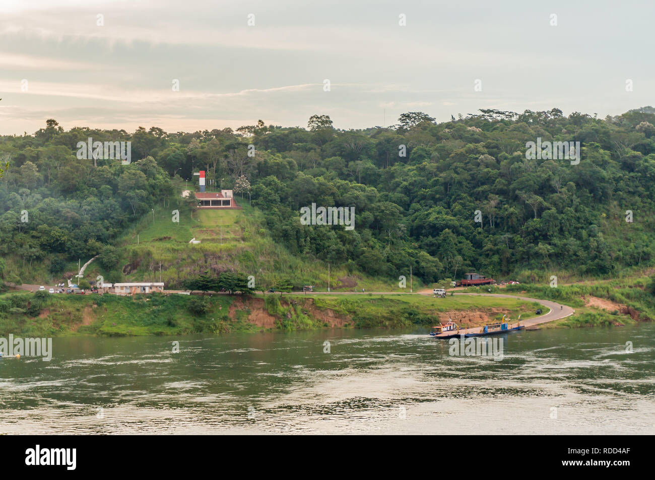 Paraguayan border crossing station at Tres Fronteras (Triple Frontier),  the border between Argentina, Brazil and Paraguay - Stock Image