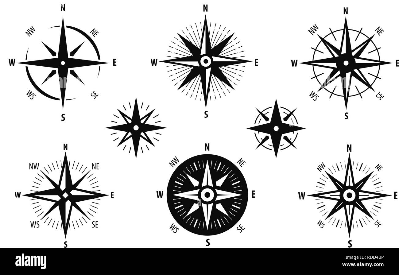 Compass, wind rose icon set. Marine navigation symbol. Vector illustration - Stock Image