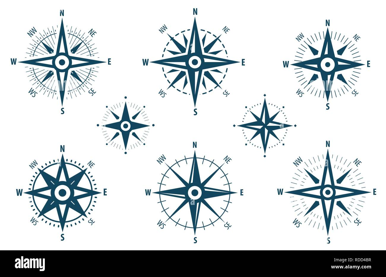 Compass icon set. Marine navigation, wind rose symbol. Vector illustration - Stock Image