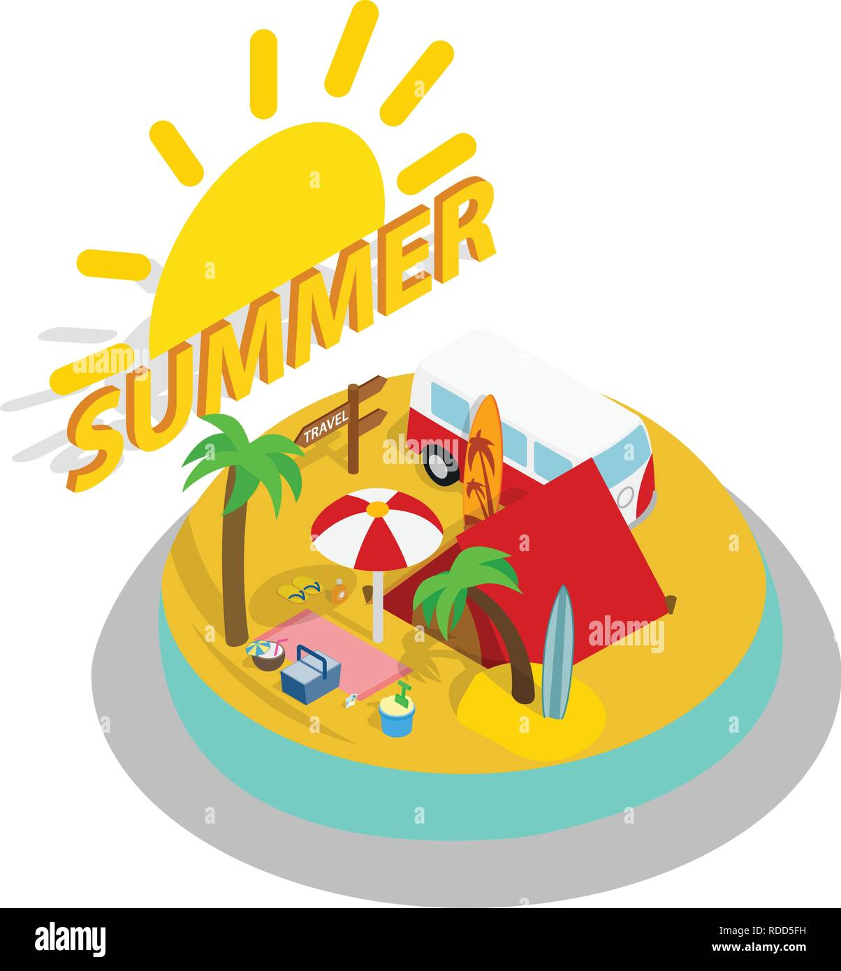 Summer day concept banner, isometric style - Stock Vector