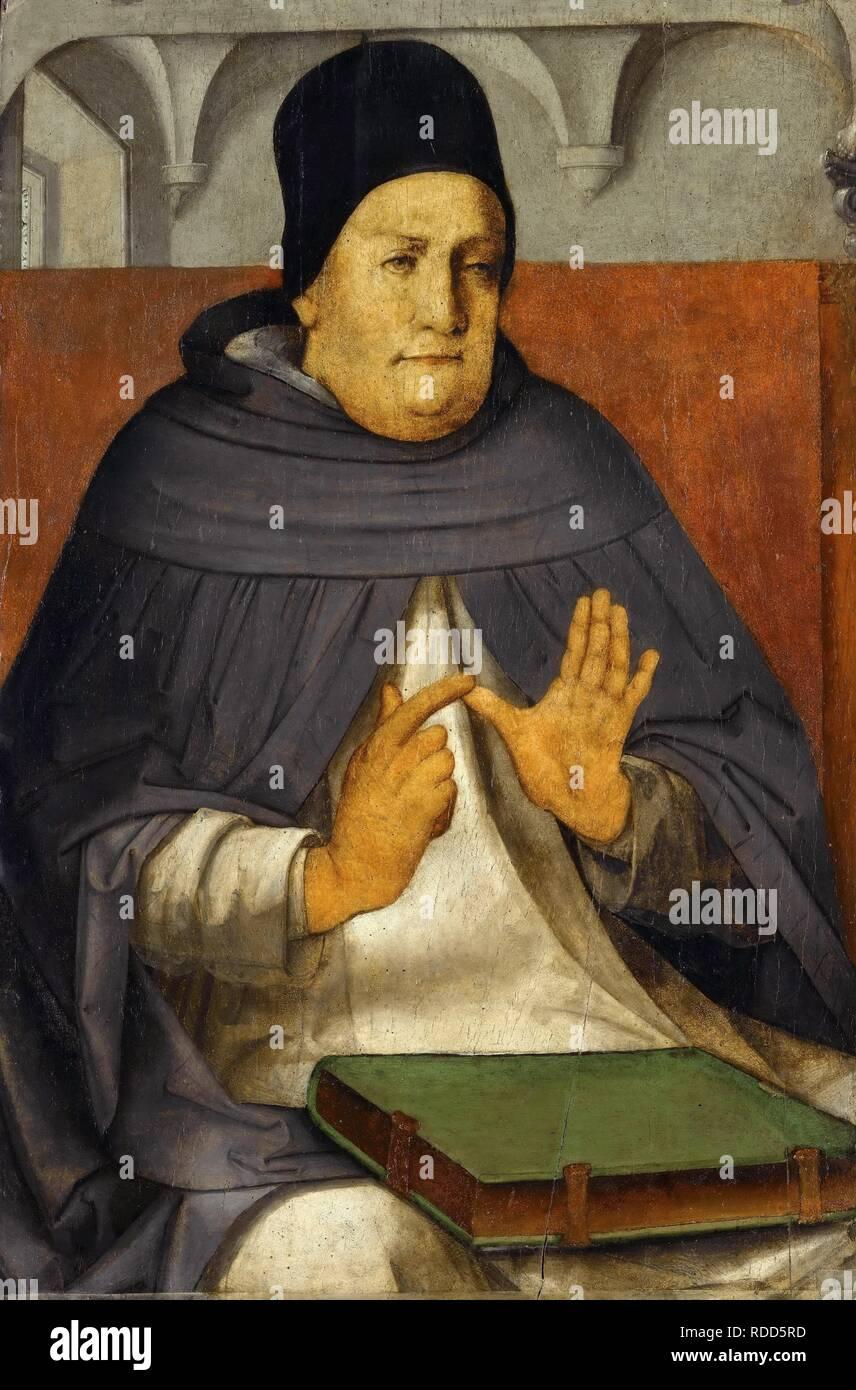 Thomas Aquinas. Museum: Musee du Louvre, Paris. Author: Wassenhove (Justus van Gent), Joos van. - Stock Image
