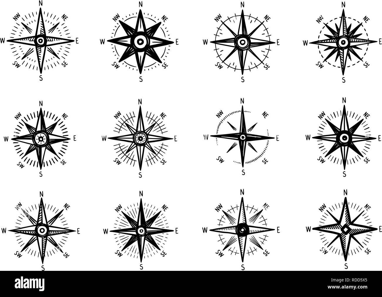 Compass, wind rose icon set. Marine navigation symbol. Sketch vector illustration - Stock Image