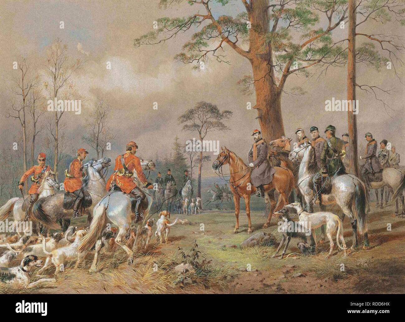 The hunting party of Emperor Alexander II. Museum: PRIVATE COLLECTION. Author: ZICHY, MIHALY VON. Stock Photo