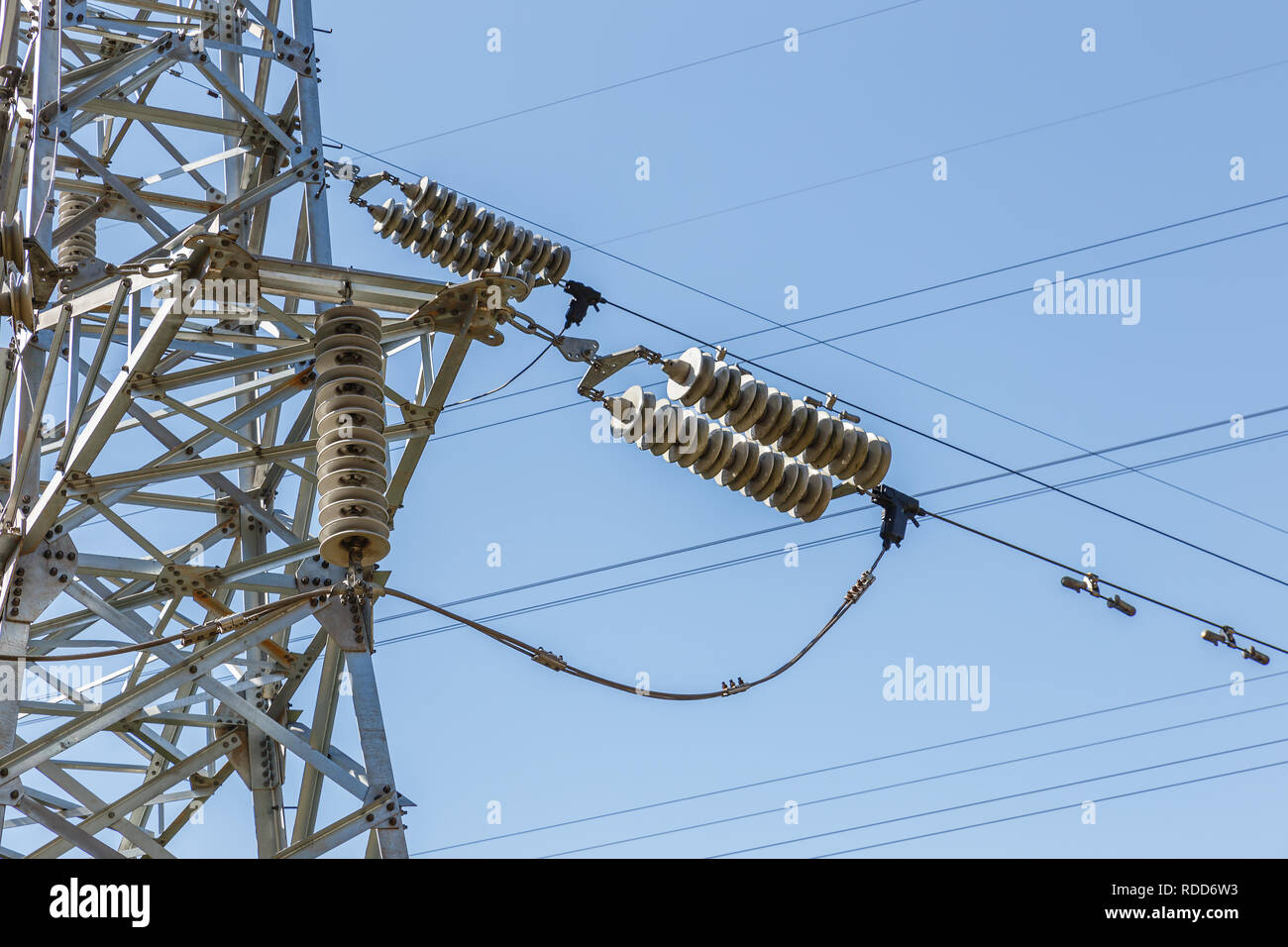 High-voltage electrical insulator electric line against the