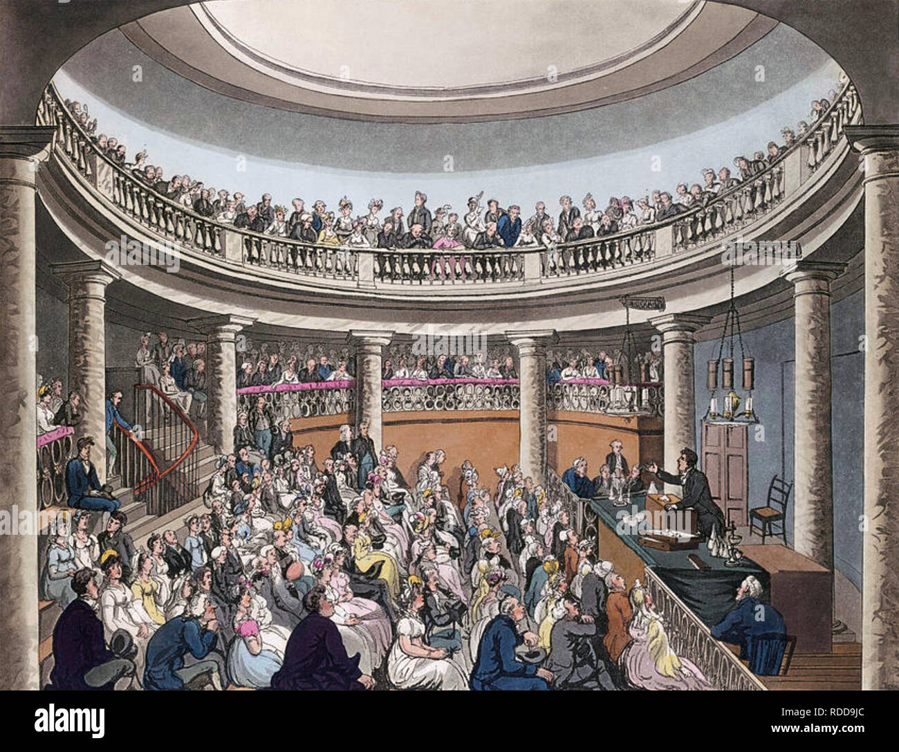 HUMPHREY DAVY (1778-1829) Cornish chemist and inventor lecturing at the Surrey Institution in the Rotunda near Blackfriars Bridge,London, about 1808 - Stock Image