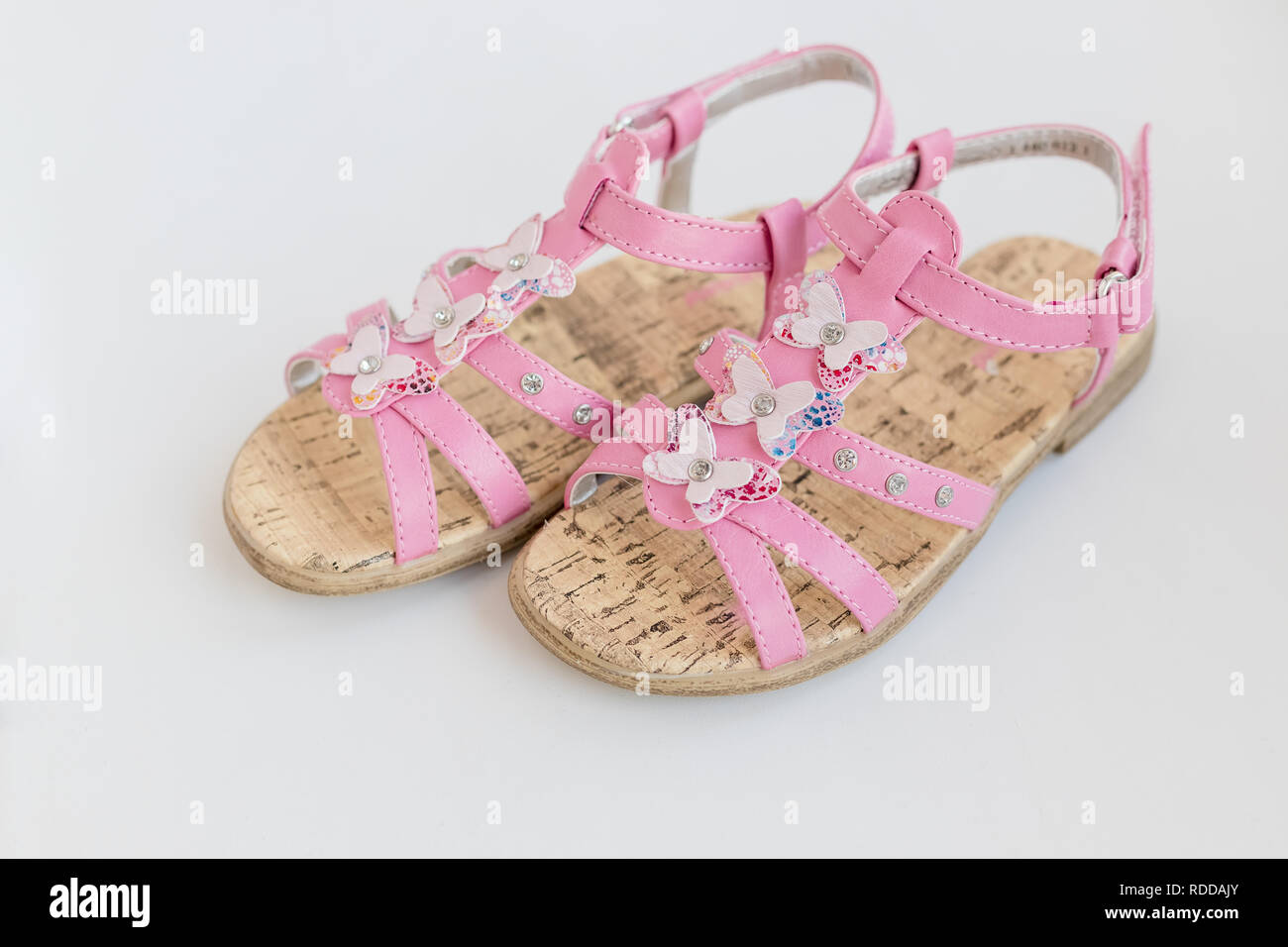 356941795 Trendy Baby pink sandals isolated on white background.Close up of baby  shoes, Kids summer fashion.Shoes for girls, Children's slippers, beach  fashion for ...