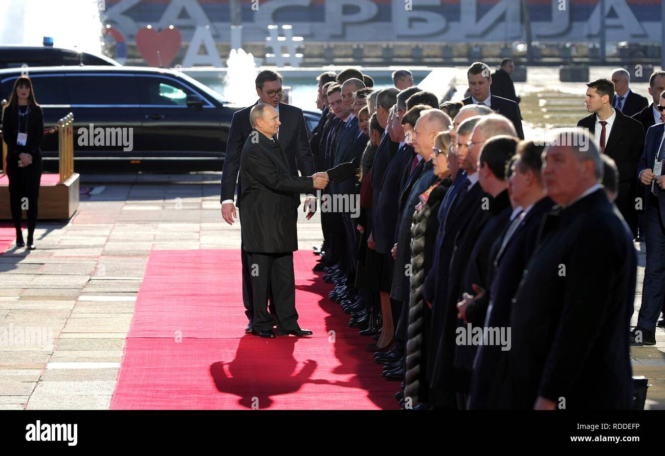Belgrade, Serbia. 17th January, 2019. Russian President Vladimir Putin, is introduced to VIPs by Serbian President Aleksandar Vucic during the official full military honours welcome ceremony January 17, 2019 in Belgrade, Serbia. Credit: Planetpix/Alamy Live News Stock Photo