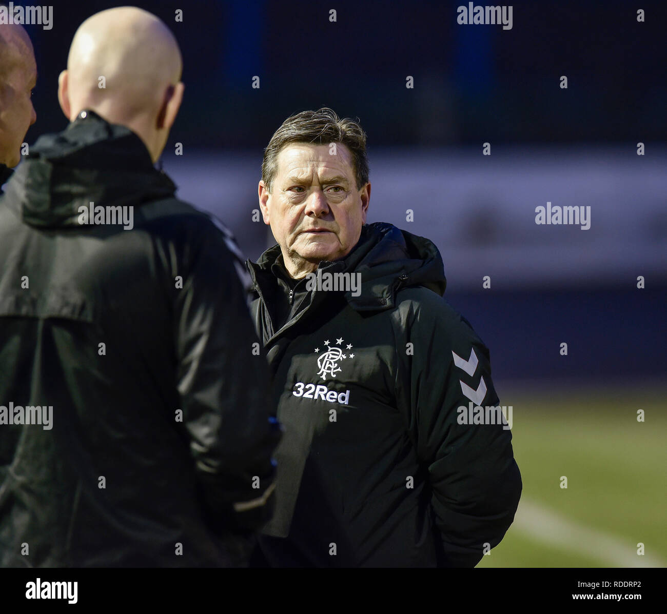 Cowdenbeath, Scotland, UK. Fourth round of the William Hill Scottish Cup match between Cowdenbeath and Glasgow Rangers postponed late on after a complaint by Rangers kit man about a frozen surface. Local referee Scott inspected the pitch and agreed. Pictured: Rangers kit man Jimmy Bell. Credit: Dave Johnston/Alamy Live News - Stock Image
