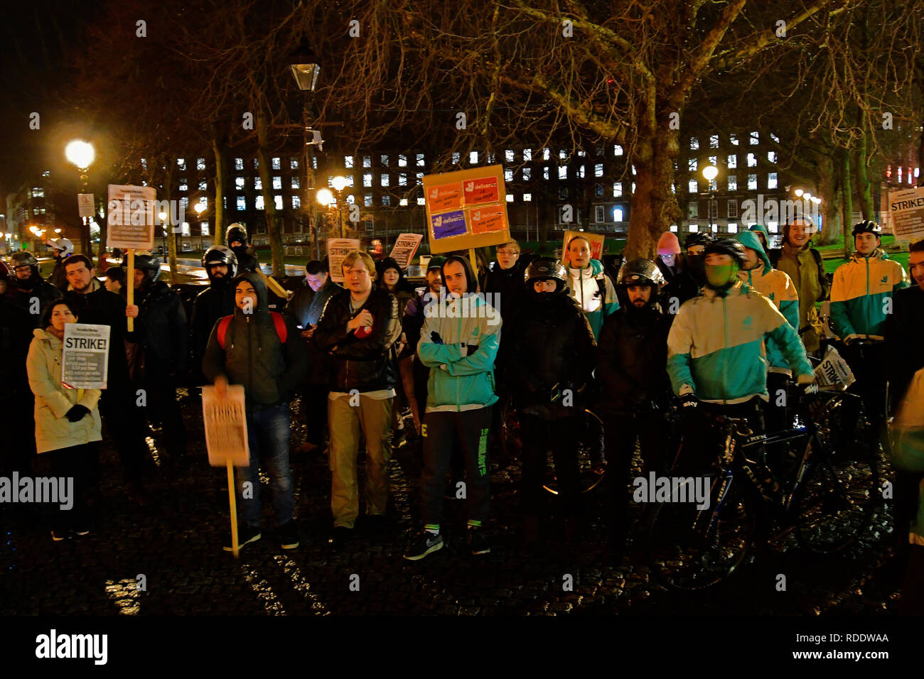 Bristol, UK. 18th Jan, 2019. Bristol.Deliveroo riders . Strike on Friday nIght over pay and terms of conditions. Picture credit Robert Tioney/Alamy/Live/News Credit: Robert Timoney/Alamy Live News - Stock Image