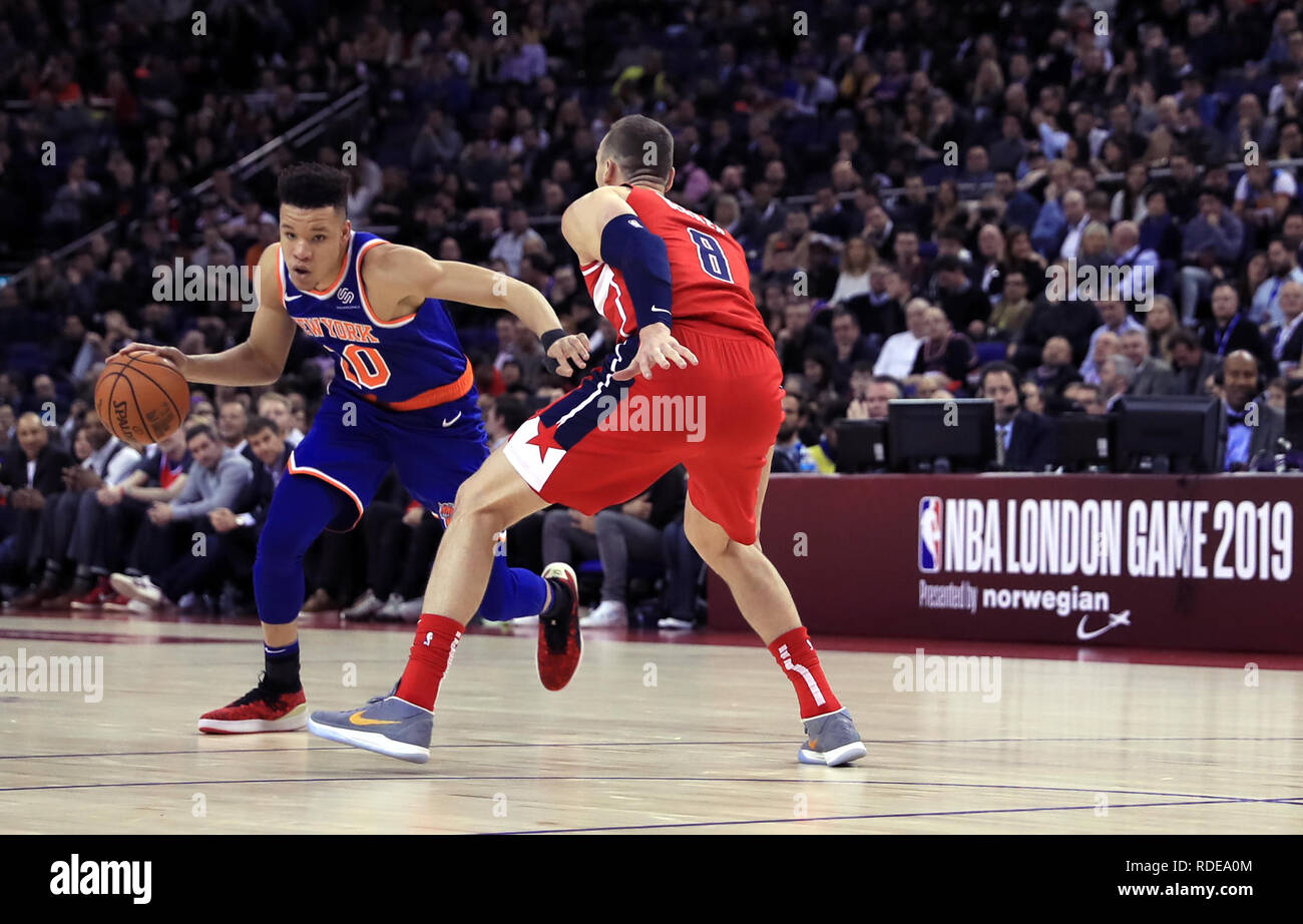25d5ba0a4ba New York Knicks  Kevin Knox (left) and Washington Wizards  Sam Dekker battle