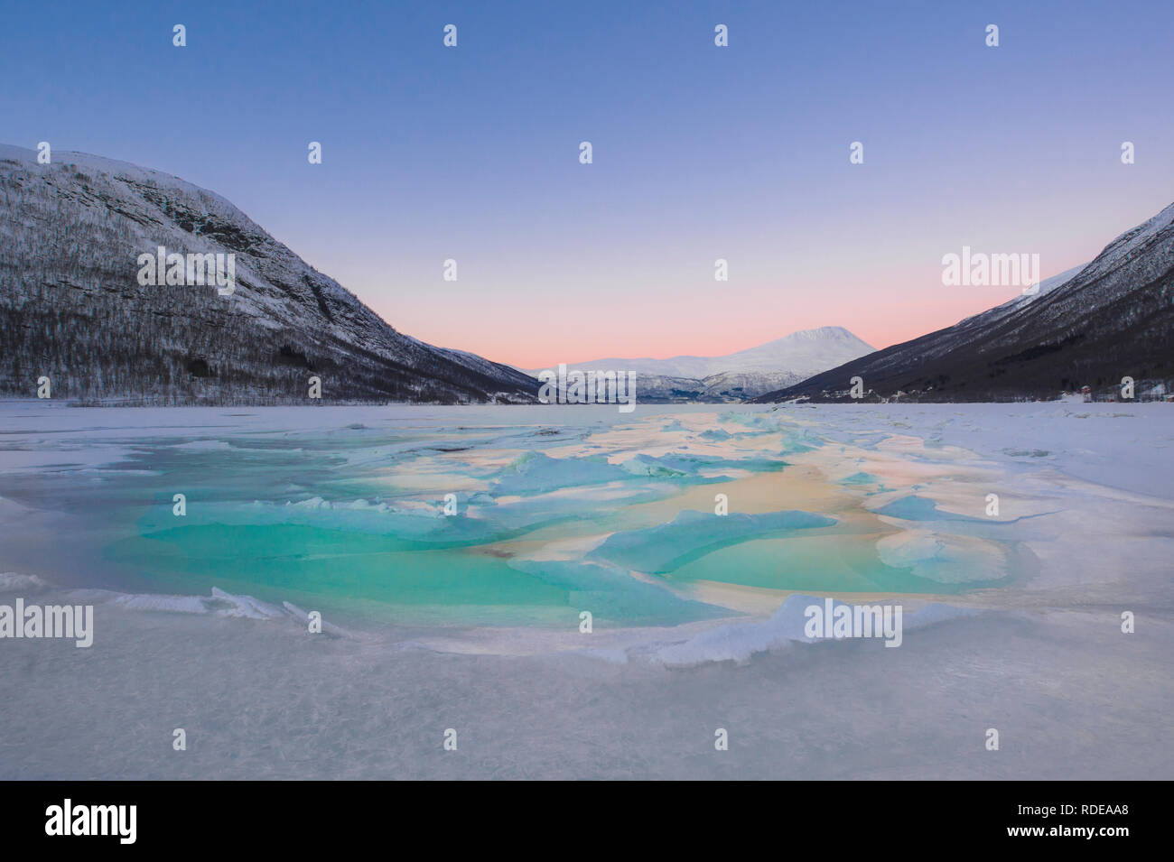 beautiful frozen fjord with fog - Stock Image