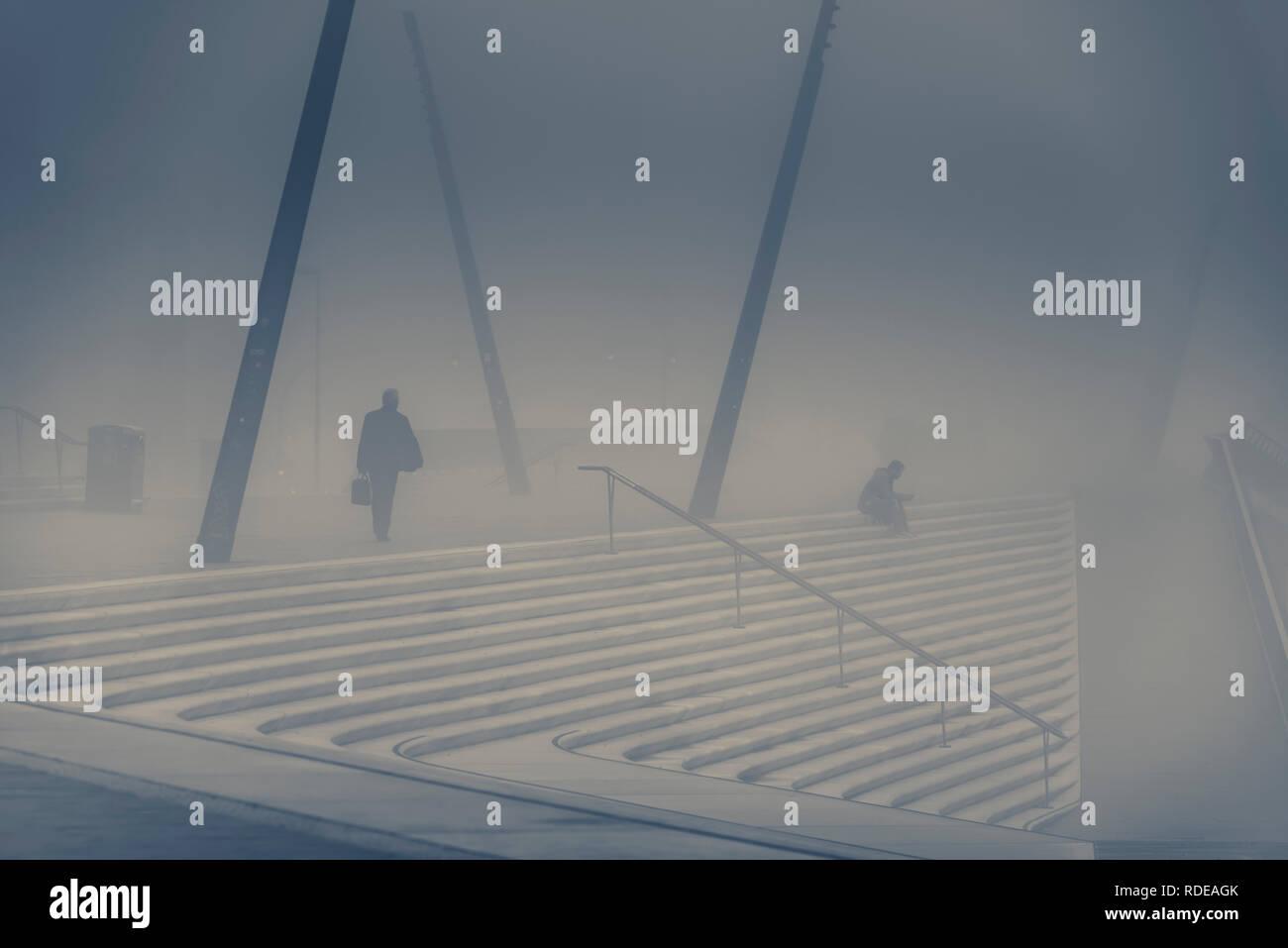 Deutschland, Hamburg, Elbe, Hafen, St. Pauli, Promenade, Landungsbrücken - Stock Image