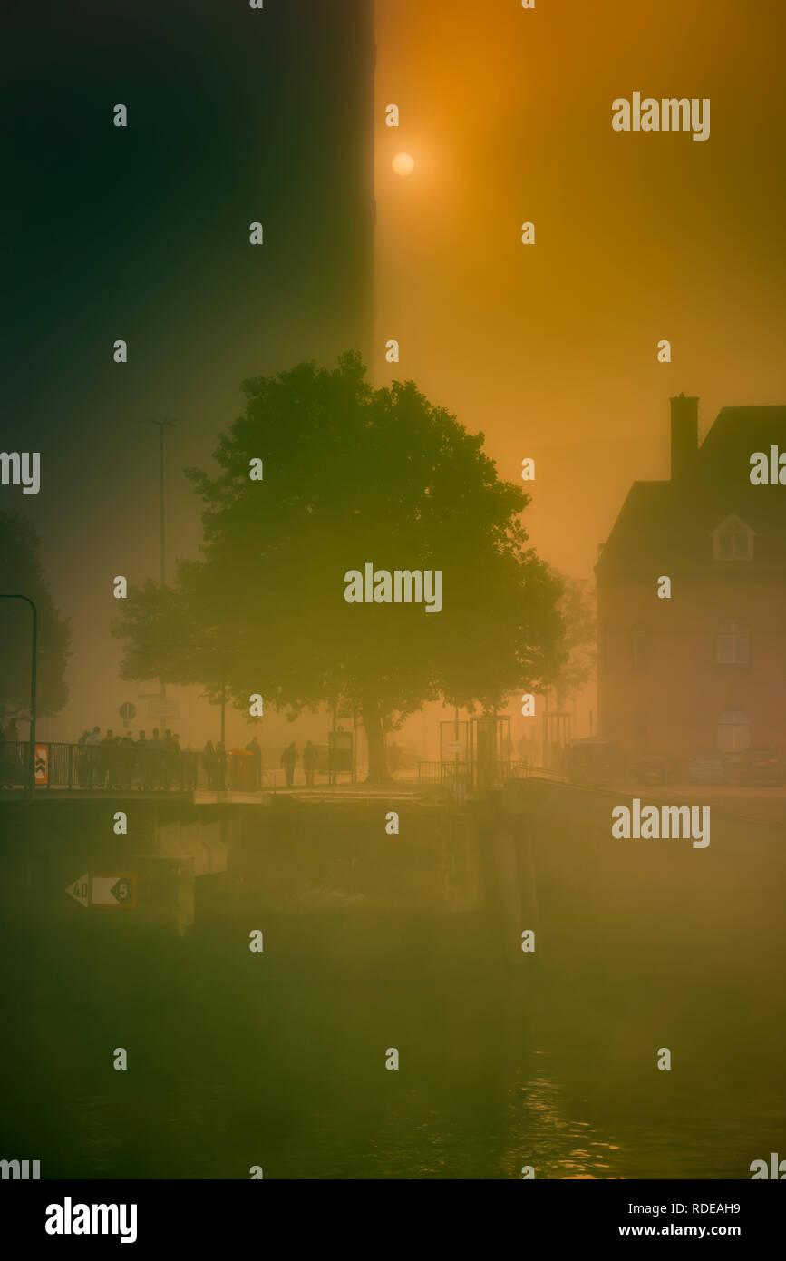 Deutschland, Hamburg, Elbe, Hafen, Speicherstadt, Hafencity, Nebel - Stock Image