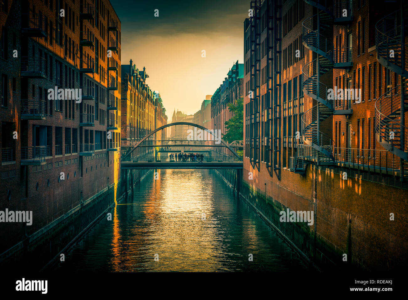 Deutschland, Hamburg, Elbe, Hafen, Speicherstadt, Hafencity, Sandbrücke - Stock Image