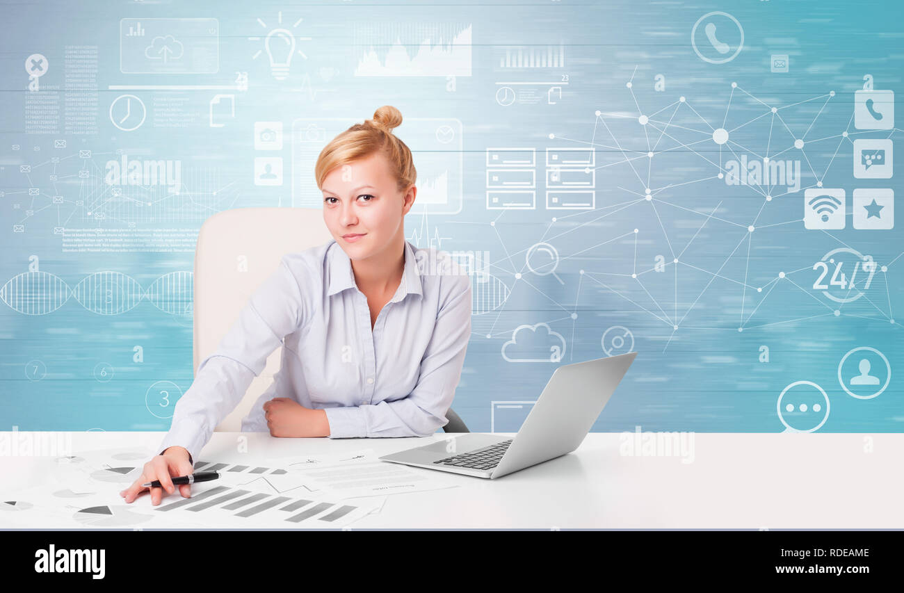 Business person at front desk with workflow concept  - Stock Image