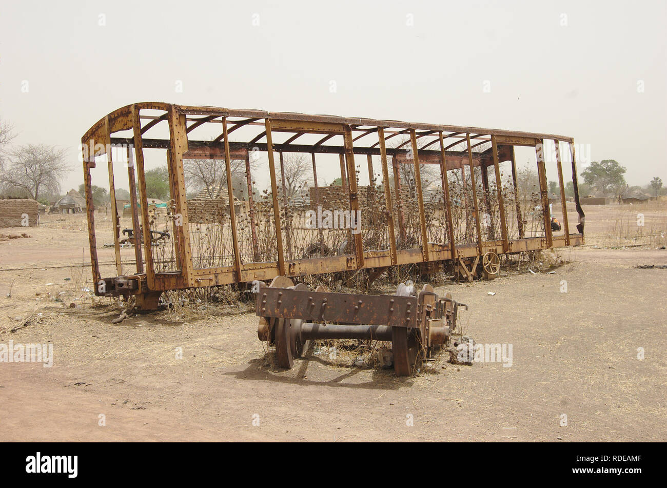 Rusting Train Carriage in South Sudan - Stock Image