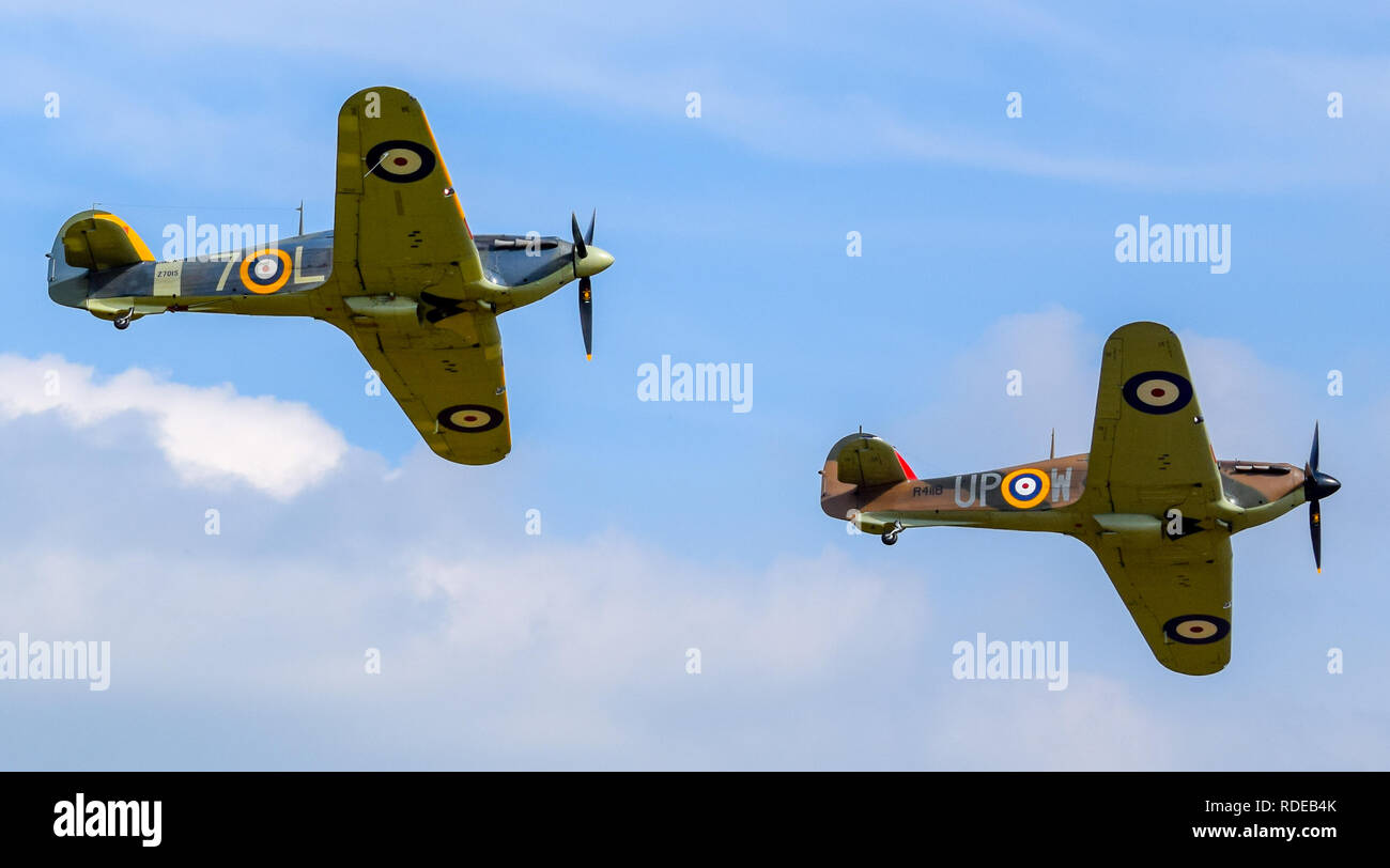 Formation of Two World War Two Veteran Hawker Hurricanes Flying Over Shuttleworth - Stock Image
